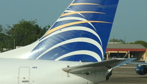 A Copa Airlines Boeing 737 at the gate at the San Juan airport in Puerto Rico.