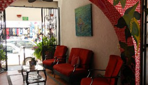 Warm welcome: The lobby at Hotel Catedral in Puerto Vallarta.