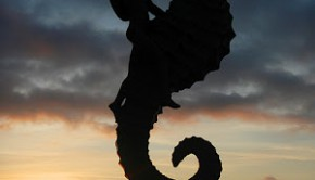 The famed seahorse sculpture on the waterfront Malecón in Puerto Vallarta, Mexico.
