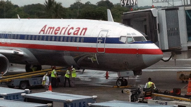 The American Airlines Boeing 737 that flew me from Panama City Airport to Miami.