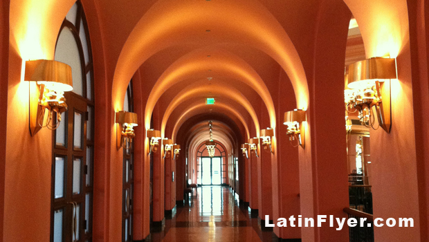 The second-floor hallway leads to 15,000 square feet of meeting and event space at the Condado Vanderbilt Hotel.