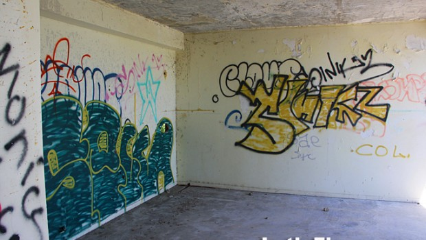 Yet another canvas for graffiti, in a guest room at the abandoned El Ponce hotel.