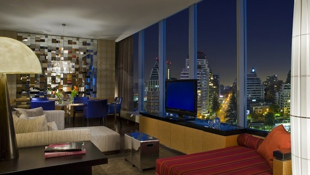 The Wow Suite at the W Santiago hotel offers great city views.