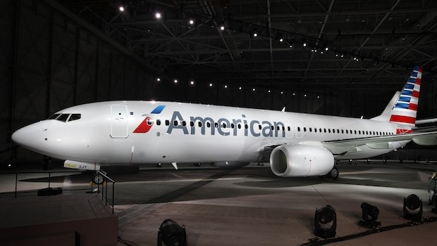 An American Airlines Boeing 737 showing the new livery and logo.