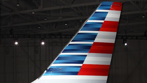 The tail of an American Airlines Boeing 737 with the new livery design.