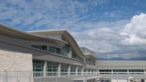 Exterior view of the terminal at the new Mariscal Sucre airport in Quito, Ecuador