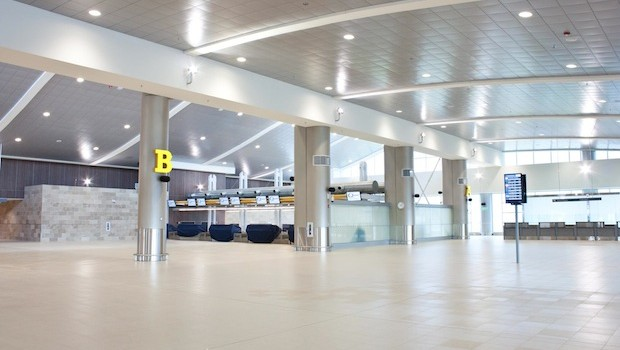 Departures area at the new Mariscal Sucre airport in Quito, Ecuador