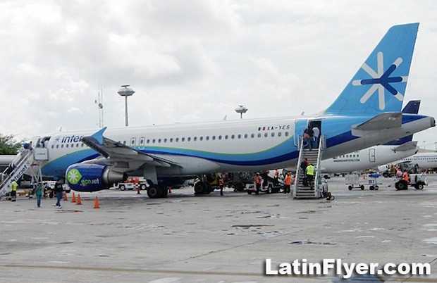 An Interjet Airbus, parked at Mexico City Benito Juárez International Airport.
