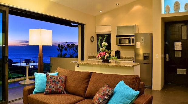 A living area in one of the guest suites at Casa Cupula in Puerto Vallarta.