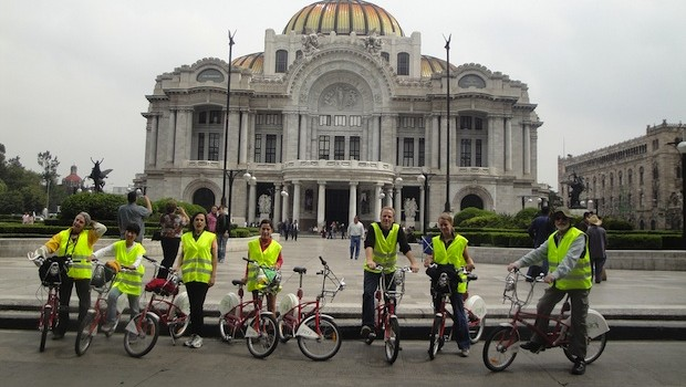 Palacio de Bellas Artes: Cycling around Mexico City, with Mexico Bike Tour.