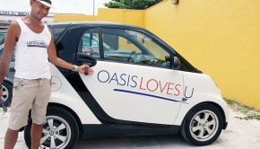 The Smart Car makes for a fun rental at Oasis Hotels in Cancun.