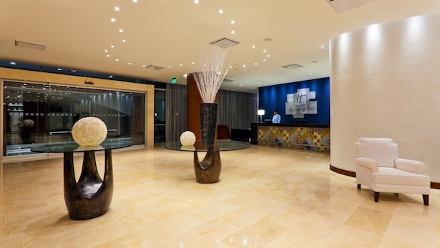 The lobby at the Holiday Inn Cartagena Morros hotel in Colombia.