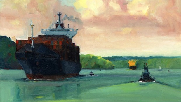 """Keep Your Distance,"" a Panama Canal artwork by George Scribner: georgescribnerart.com"