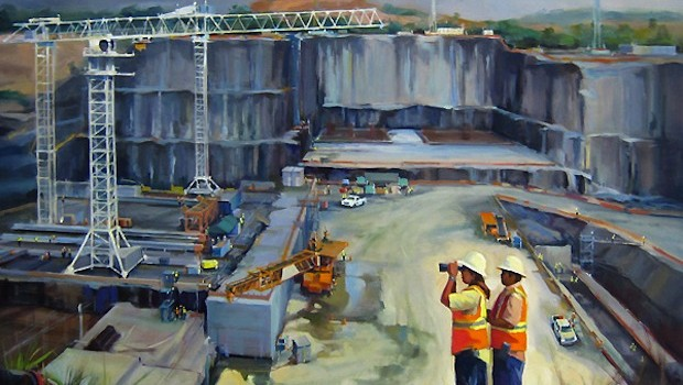 """Pacific Lock Trench Day"" depicts the Panama Canal expansion. By George Scribner: georgescribnerart.com"