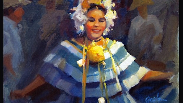 """Pollera Smile,"" a painting by George Scribner, shows Panama's vibrant culture. georgescribnerart.com"