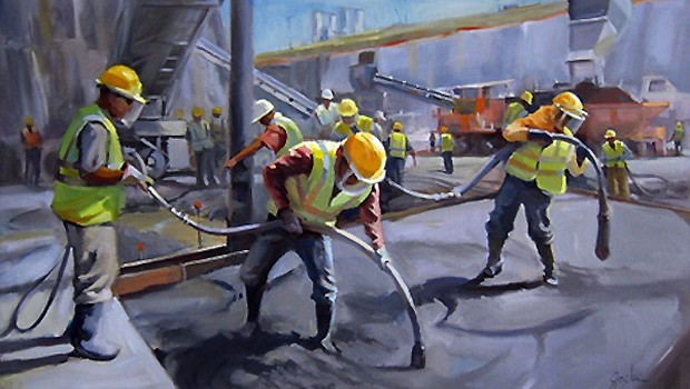 "In the painting ""Pouring Concrete,"" artist George Scribner shows Panama Canal Expansion. georgescribnerart.com"