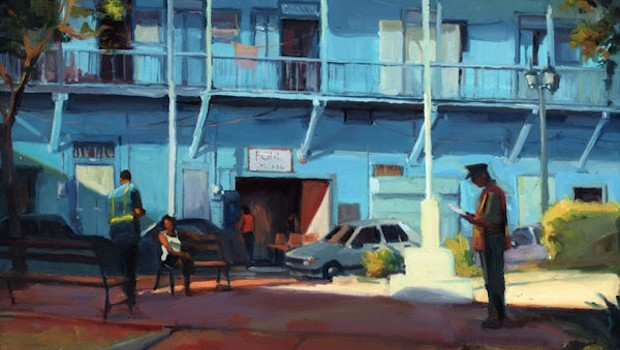 """Checking It Out,"" a painting of Panama City's Casco Antiguo by George Scribner: georgescribnerart.com"
