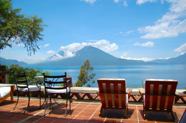 The terrace at Casa Palopo hotel offers a stunning view of Lake Atitlan, Guatemala.