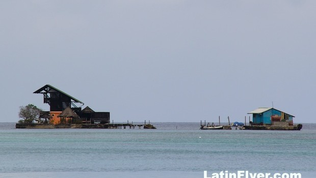 Tiny islands and even tinier houses are common in Islas del Rosario, Colombia.