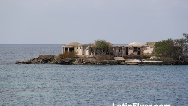 Island homes at Islas del Rosario, off Colombia's Caribbean coast.
