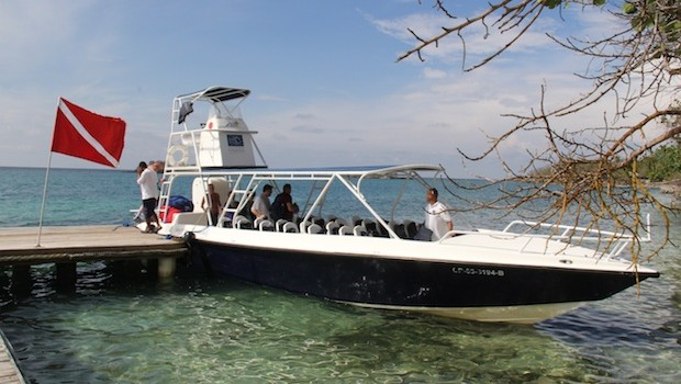 Modern boats take visitors from Cartagena to Islas del Rosario, Colombia.