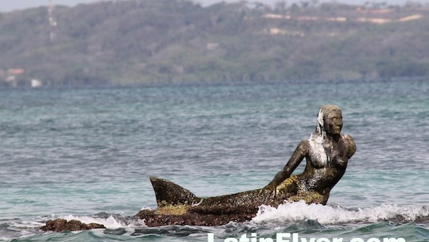 A mermaid greets visitors to the waters off the coast of Cartagena, Colombia.