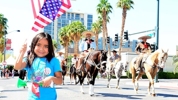 A patriotic girl joined festivities  at the Mexican Independence Day Fiesta Parade. Photo: Las Vegas News Bureau
