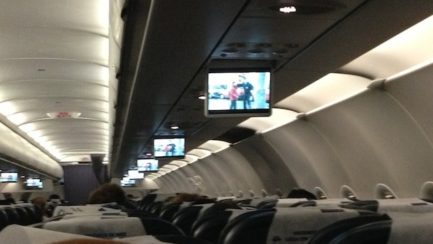 In-flight entertainment video screens on LAN Airlines Airbus A320.