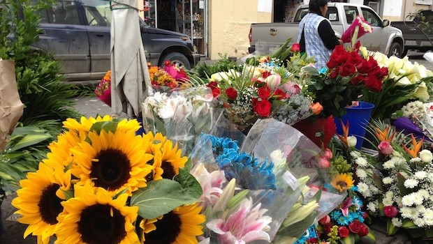Flower market in historic Cuenca, Ecuador.