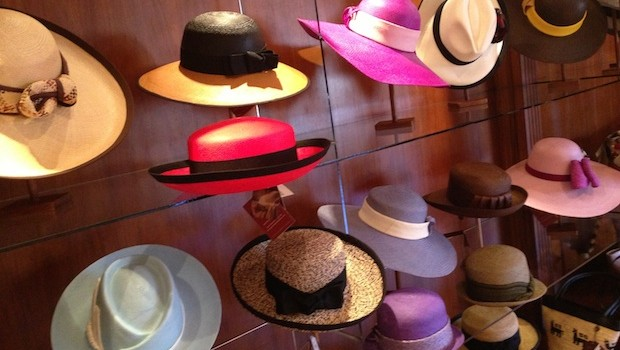 Women's hats at Homero Ortega in Cuenca, Ecuador.