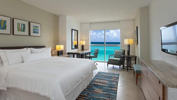 Refurbished guest rooms at the Westin Resort & Spa, Cancun are airy and bright.