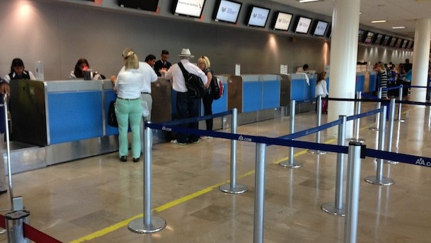 American Airlines ticket counter at Puerto Vallarta International Airport.