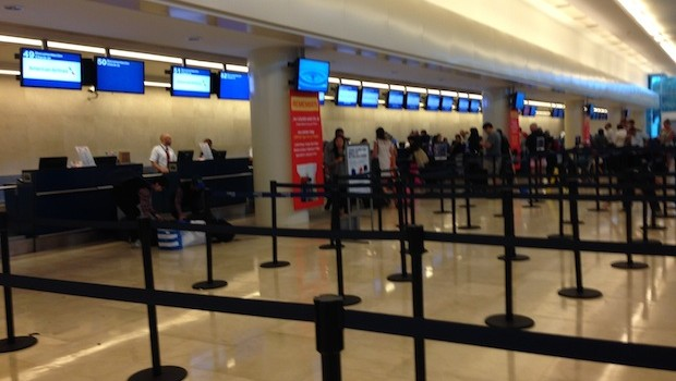 American Airlines ticket counter at Cancun airport terminal 3.