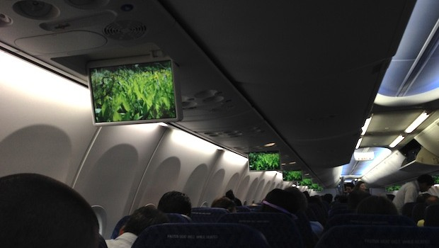 In-flight entertainment on American Airlines Boeing 737-800.