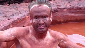Does the volcanic red mud bath become me? Enjoying a spa in Cuenca, Ecuador.