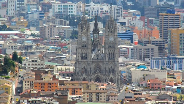 Historic churches are part of the dramatic skyline in Quito.