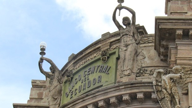Ornate architecture of the former Banco Central de Ecuador, in Quito.