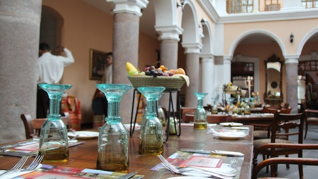 Elegant lunches are served at Patio Andaluz, in Quito, Ecuador.