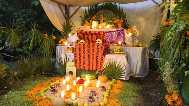 Flowers and candles are often used in Day of the Dead altars.