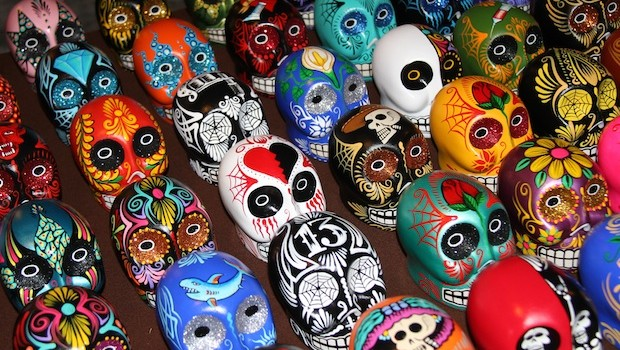 Colorful skulls are popular decorative items during the Day of the Dead.