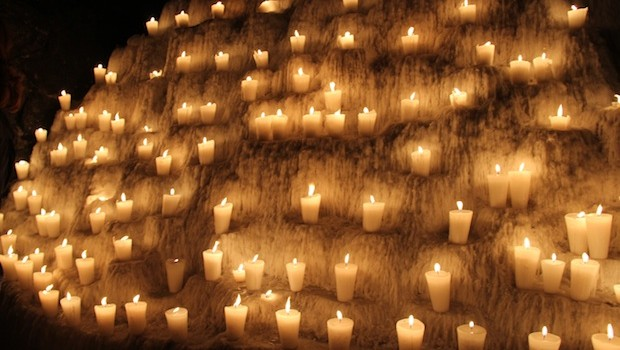 Hundreds of candles burn at Xcaret during Day of the Dead festivities.