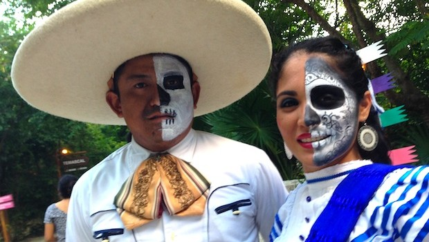 Traditional Mexican clothing gets a Day of the Dead makeover at Xcaret.