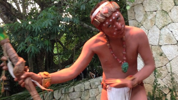 An artistic variation on traditional indigenous costumes, at Xcaret.