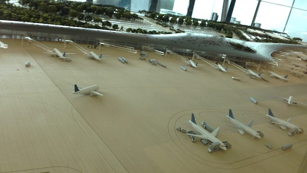 Model of what will be the new terminal at Tocumen airport in Panama.