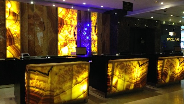 Reception desk at El Panama hotel in Panama City, Panama.