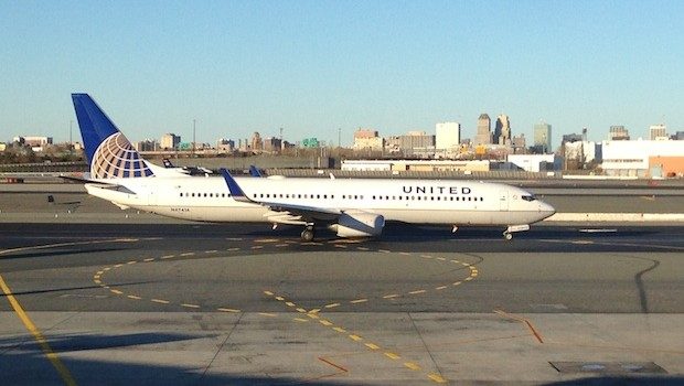 United Airlines Boeing 737-900 at Newark airport.