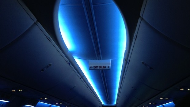 Boeing Sky interior aboard United Airlines Boeing 737-900.