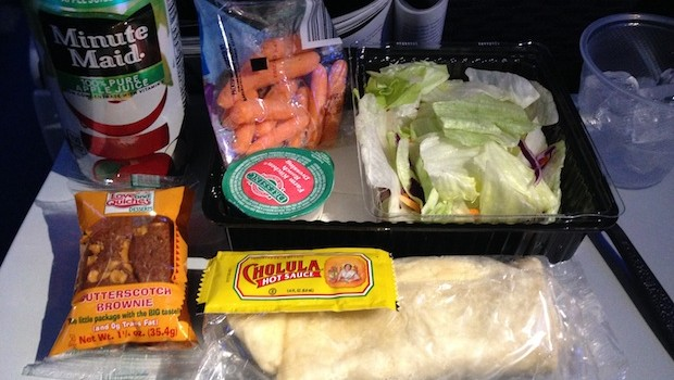 Airline food: Airline meal served on United Airlines flight to Panama City.
