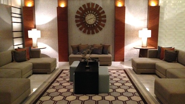 The attractive lobby at Waldorf Astoria Panama.