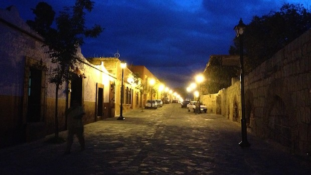 After dark, the streets of Oaxaca, Mexico cast a different glow.